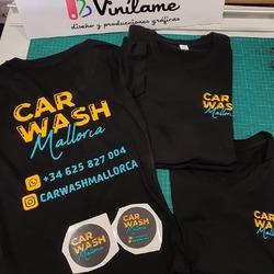 Camisetas y pegatinas para @carwashmallorca 😁  #vinilame #camisetaspersonalizadas #estampaciontextil #pegatinaspersonalizadas